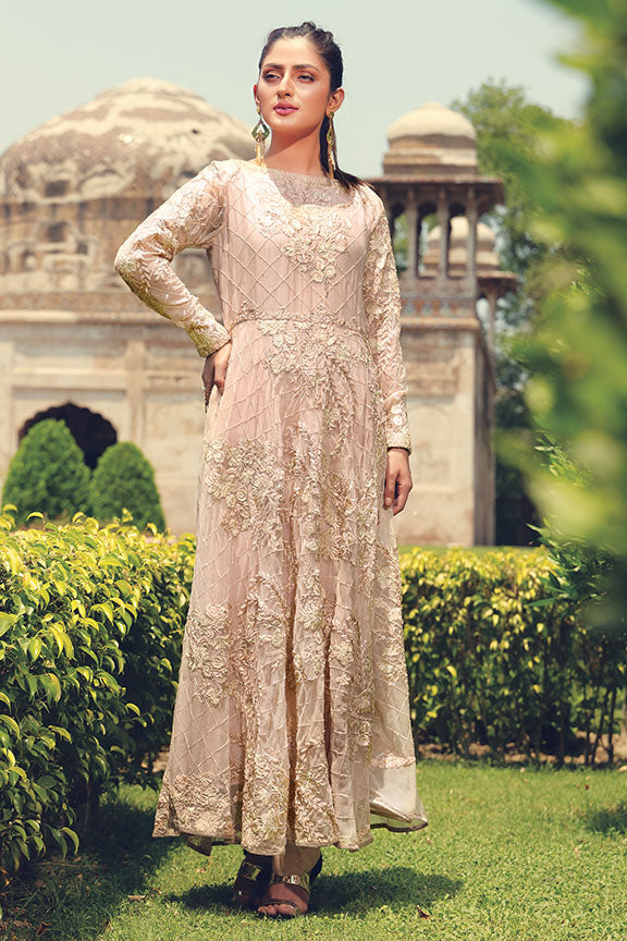 2200-POWDER-PEACH EMBROIDERED BEMBERG CHIFFON STITCHED