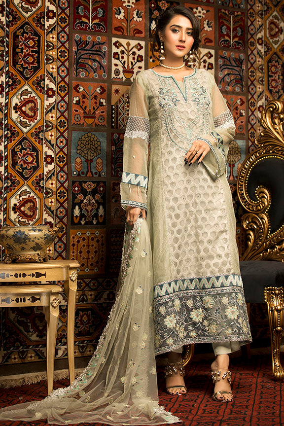 2300-AAB-E-ZAR EMBROIDERED JAMAVAR STITCHED