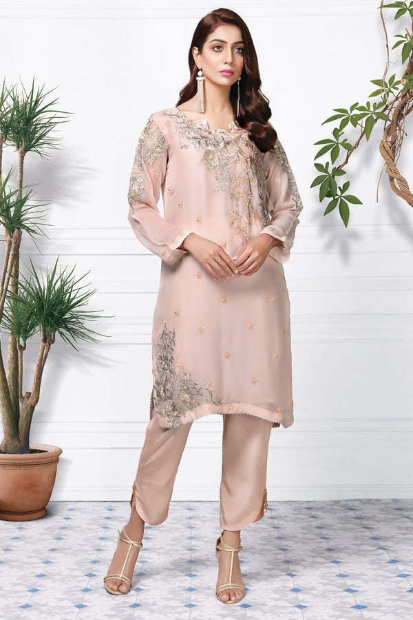 2361-PEACH EMBROIDERED CHIFFON STITCHED