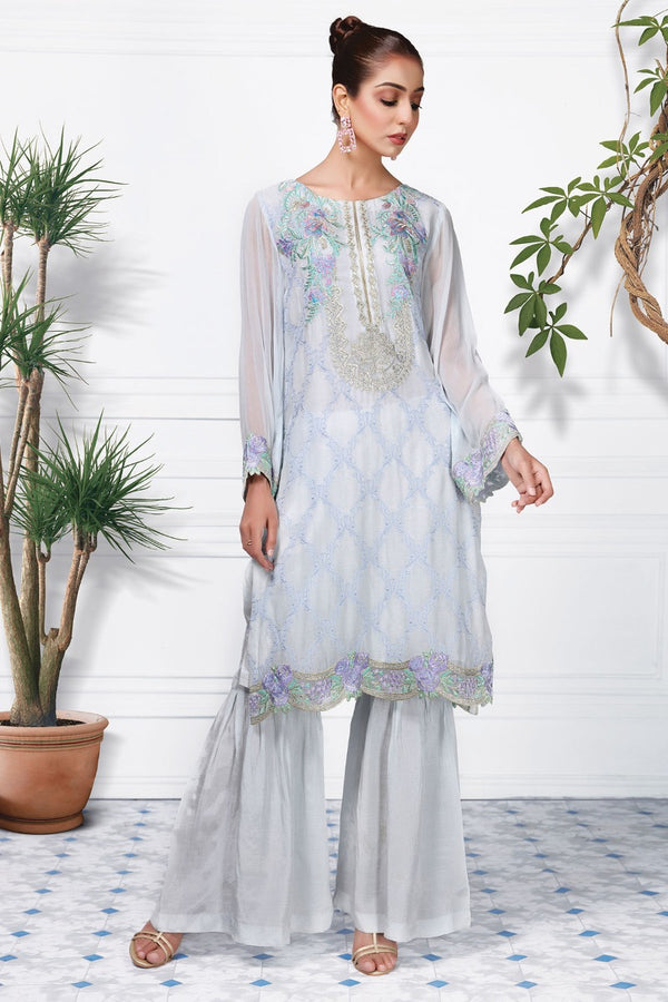 2363-SKY-BLUE EMBROIDERED CHIFFON STITCHED