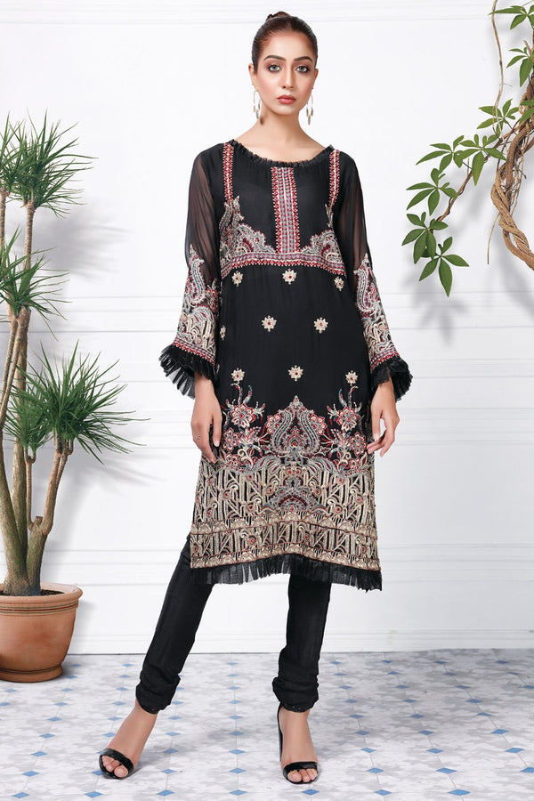2364-BLACK EMBROIDERED CHIFFON STITCHED