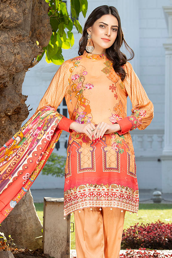 2426-CORAL-BLUSH DIGITAL PRINTED COTAIL STITCHED