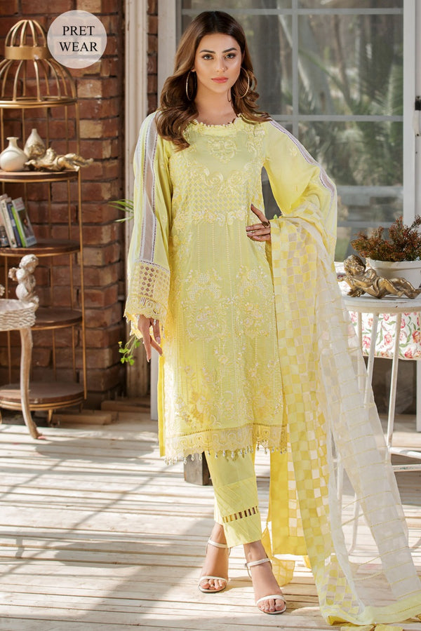 2454-DAISY-YELLOW EMBROIDERED LAWN STITCHED