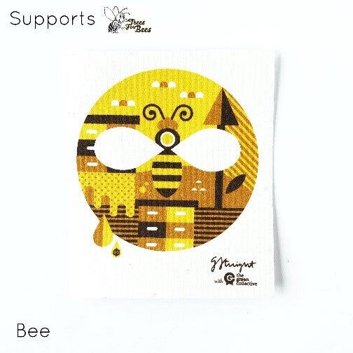 Spruce dishcloth - Bee (supports trees for bees)