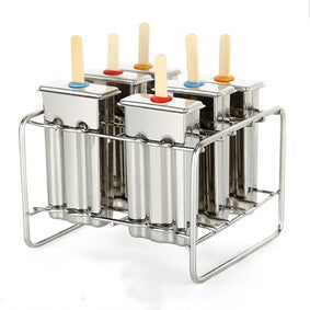 Stainless steel popsicle moulds with rack
