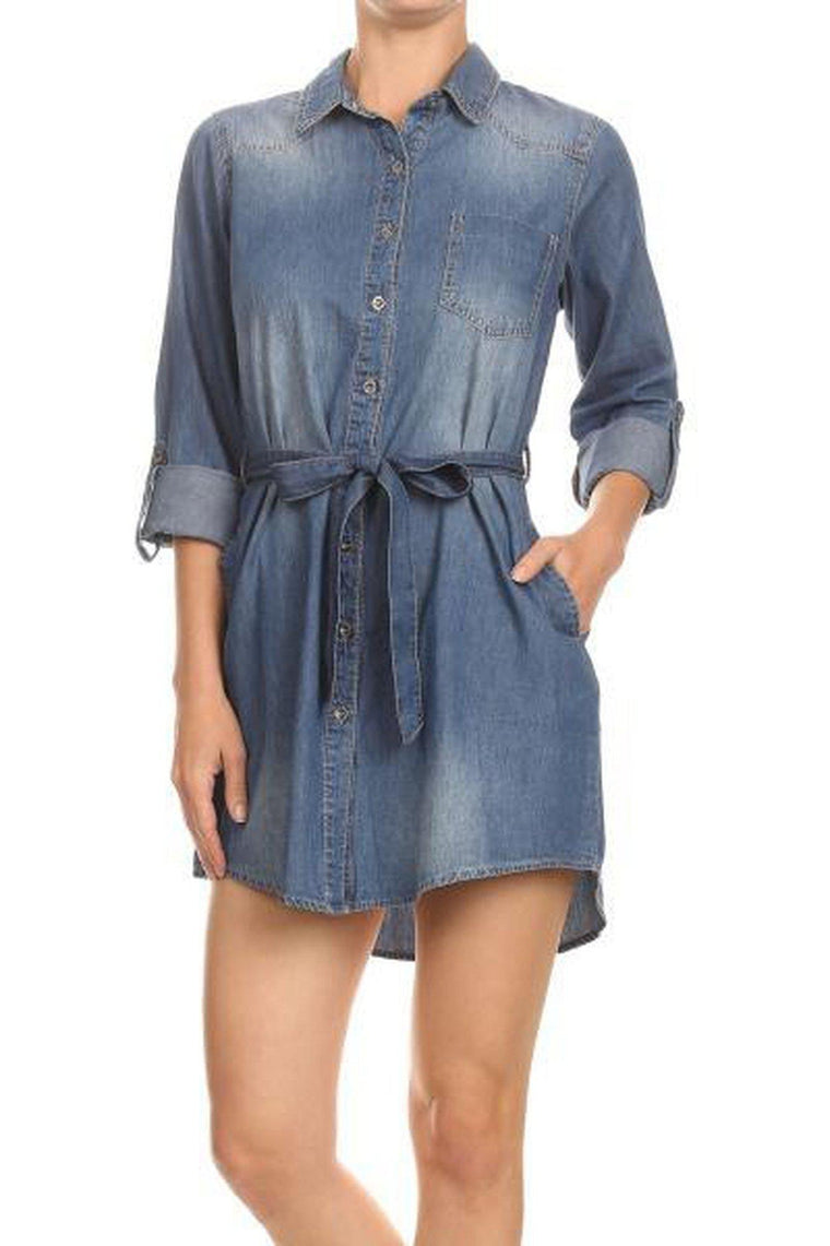 Britney Denim Shirt Dress