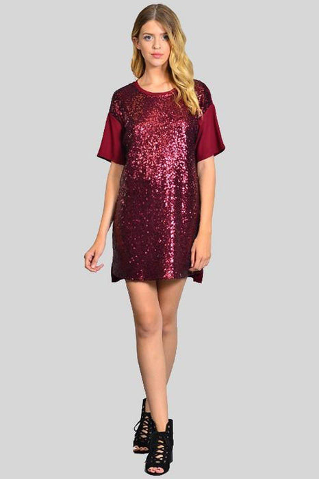 Holiday Party Sequin T-Shirt Dress