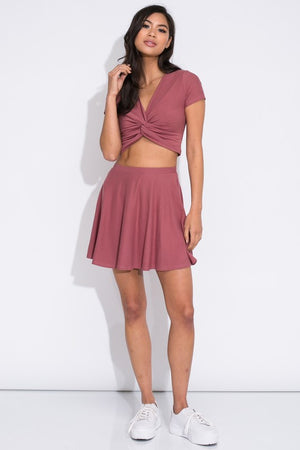 Twisted Rose - Skirt and Crop Top Set
