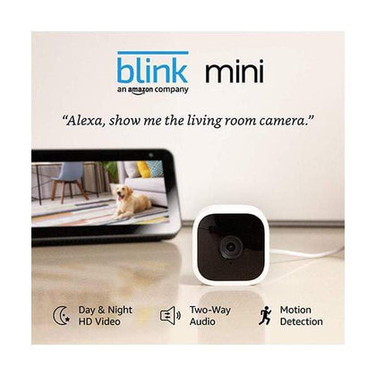 Amazon Security & Surveillance Systems White / Brand New / 1 Year Blink Mini – Compact indoor plug-in smart security camera, 1080 HD video, night vision, motion detection, two-way audio, Works with Alexa – 1 camera
