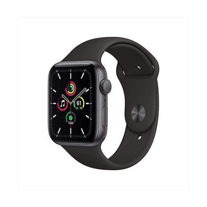 Apple Smartwatch, Smart Band & Activity Trackers Space Gray Aluminum Case with Black Sport Band / Brand New / 1 Year New Apple Watch SE (GPS, 44mm)