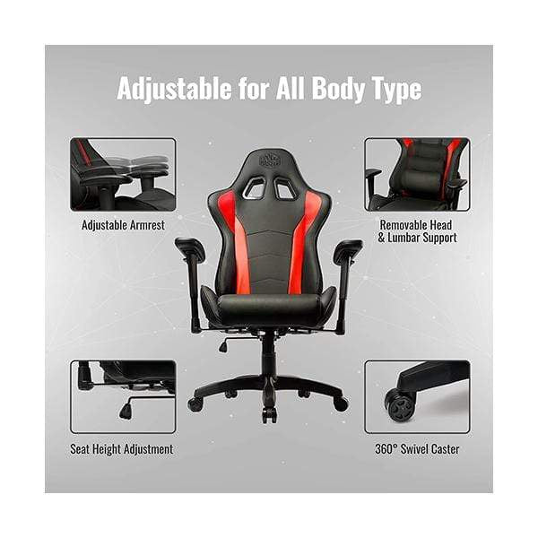 Cooler Master Caliber R1, PC Gaming Racing Chair Ergonomic High Back Office Chair, Seat Height and Armrest Adjustment, Recliner, Cushions with Headrest and Lumbar Support