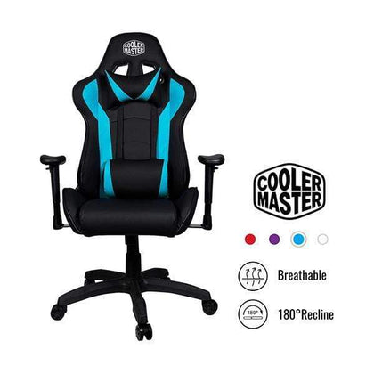 Cooler Master Gaming Chairs Cyan-blue Cooler Master Caliber R1, PC Gaming Racing Chair Ergonomic High Back Office Chair, Seat Height and Armrest Adjustment, Recliner, Cushions with Headrest and Lumbar Support