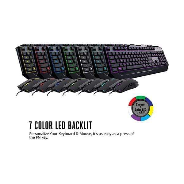Cooler Master Devastator 3 Gaming Keyboard & Mouse Combo, 7 Color Mode LED Backlit, Media Keys, 4 DPI Settings