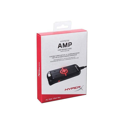 HyperX Amp USB Sound Card - Virtual 7.1 Surround Sound - Works with PC-PS4 - Audio Upgrade for Stereo Headsets - HX-USCCAMSS-BK