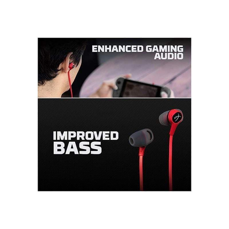 HyperX Cloud Earbuds Gaming Headphones with Mic for Mobile Gaming & Nintendo Switch - HX-HSCEB-RD