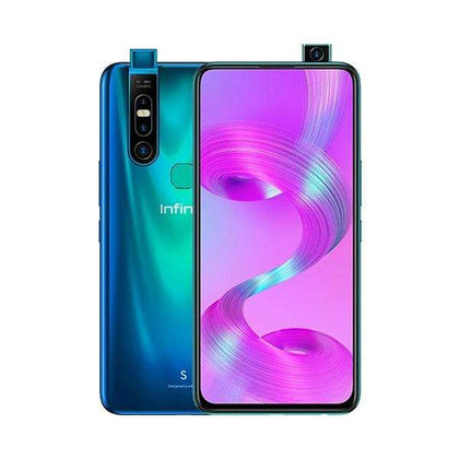 Infinix Mobile Phone Sea Blue / Brand New / 1 Year Infinix S5 Pro, 6GB/128GB, 6.53 Inch IPS LCD Screen, Octa core CPU, Rear Cam Triple 48MP + 2MP + QVGA, Selfie Cam Motorized pop-up 16 MP, Fingerprint (rear-mounted) + Free Jelly Case + Protective Film