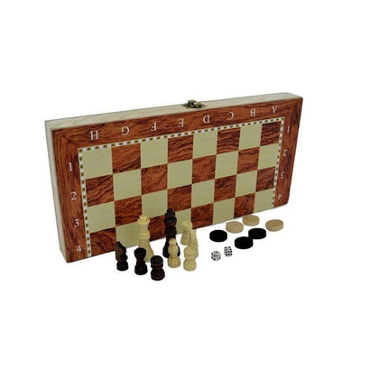 Wooden Folding Chess, Checkers & Backgammon Board (S)