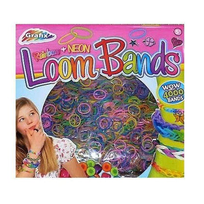 Loom Bands - Rainbow + Neon - 4000 Bands