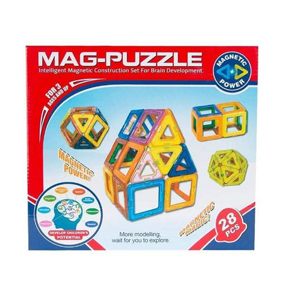 Mag-Puzzle - Intelligent Magnetic Construction Set For Brain Development - 28 Pcs Ages 3+