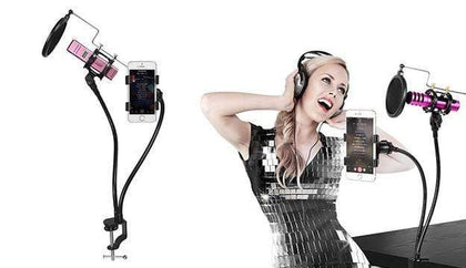 3 in 1 Metal Microphone Mount Holder With Cell Phone Clip Stand & Pop Filter