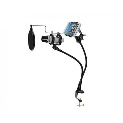 Mobileleb.com Karaoke Accessories 3 in 1 Metal Microphone Mount Holder With Cell Phone Clip Stand & Pop Filter