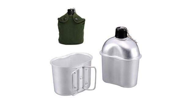 Class A Military Aluminum Water Bottle With Canteen Cup & Green Carry Bag 2.5 L