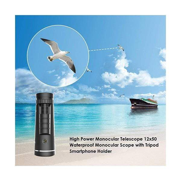 High Power 12x Zoom in 20mm Eye Lens and 50mm Objective Lens Monocular Telescope HD Dual Focus Scope, Waterproof