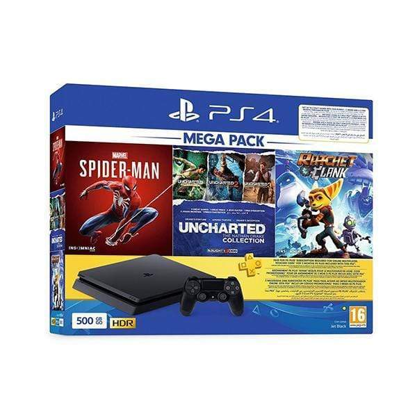 Sony PlayStation 4 Slim 500GB Bundle + Spider Man + Uncharted Collection + Ratchet & Clank + 3 Months PlayStation Plus Membership Card