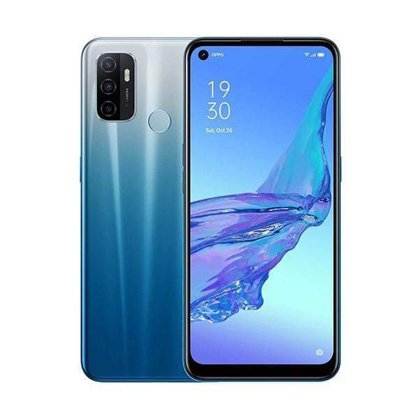 OPPO Mobile Phone Fancy Blue / Brand New / 1 Year OPPO A53, 6GB/128GB, 6.5″ IPS LCD Display, Octa-core, Triple Rear Cam 13MP + 2MP + 2MP, Selphie Cam 16MP, Fingerprint (rear-mounted)