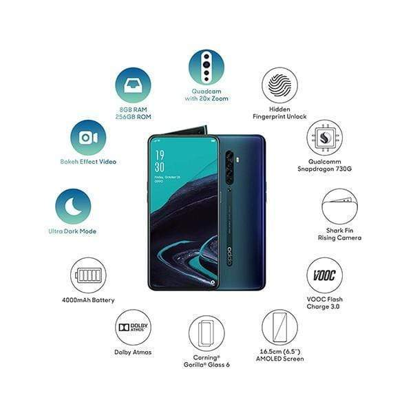 OPPO Reno2,6.5″ AMOLED Display,Octa core,8GB Ram,256GB Memory,Quad Rear Cam 48MP+13MP+8MP+2MP,Shark-fin Pop-up 16MP Selphie Cam