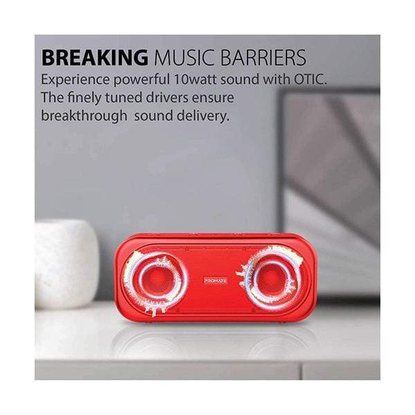 Promate Portable Speakers & Audio Docks Red Promate True Wireless Speaker, Powerful 10W Wireless Bluetooth V5.0 Stereo Speaker with Built-In Mic, 2000mAh Rechargeable Battery, USB Port, AUX and MicroSD Card Slot for Smartphones, Otic Red
