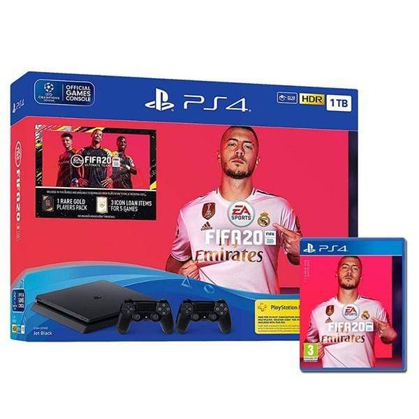 Sony PlayStation 4 1TB, FIFA 20, 2 Controllers Bundle, Black