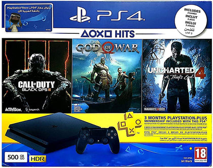 Sony Playstation 4 500GB Jet Black + Call Of Duty Black Ops III + God Of War + Uncharted 4 A Thief's End + 3 Months PS Plus