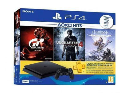 Sony PlayStation 4 500GB Jet Black + GT Gran Tourismo + Horizon Zero Dawn + Uncharted 4 A Thief's End + 3 Months PS Plus
