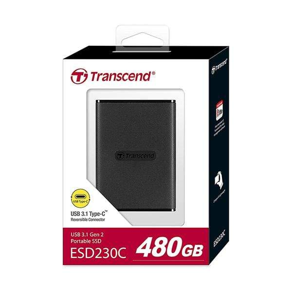 Transcend Hard Drives & SSDs Black / Brand New / 1 Year Transcend 480GB USB 3.1 Gen 2 USB Type-C ESD230C Portable SSD Solid State Drive TS480GESD230C