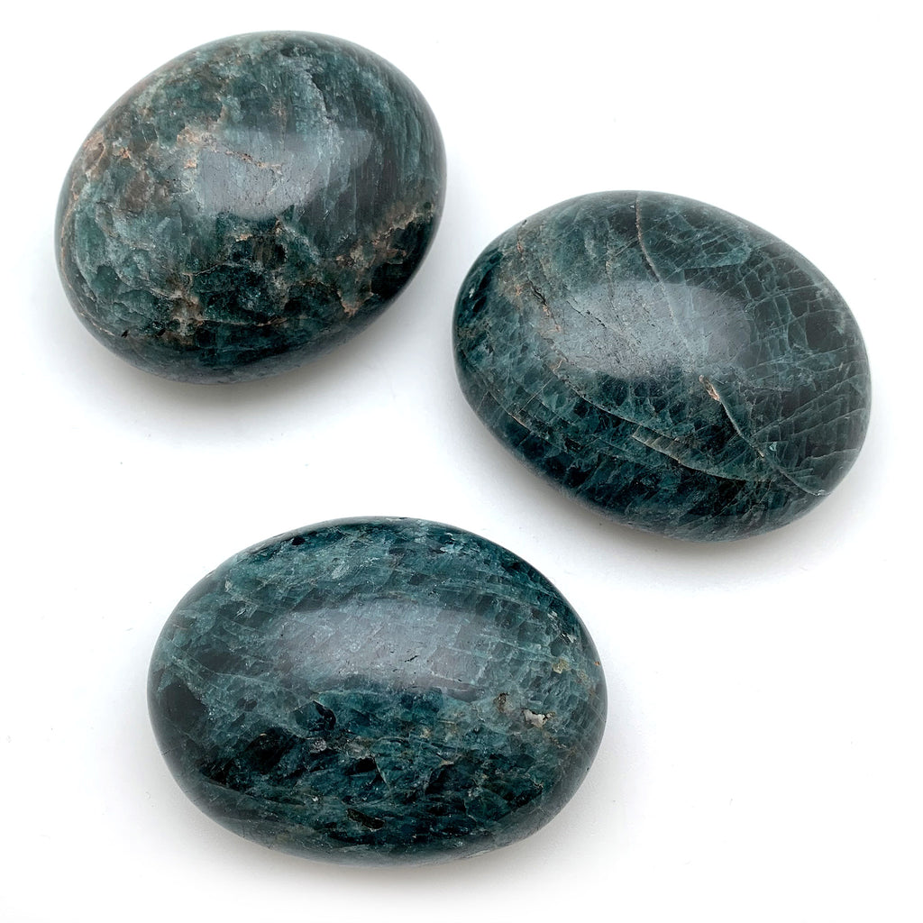 Blue Apatite Palm Stones for new ideas, willpower, authenticity