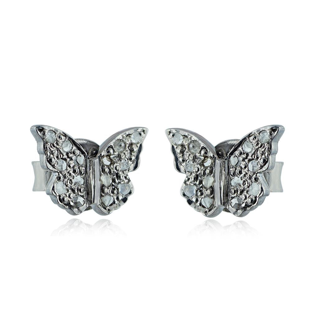 Butterfly Mia Diamond Studs in Sterling Silver