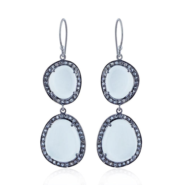 Celeste Moonstone & Diamond Earrings