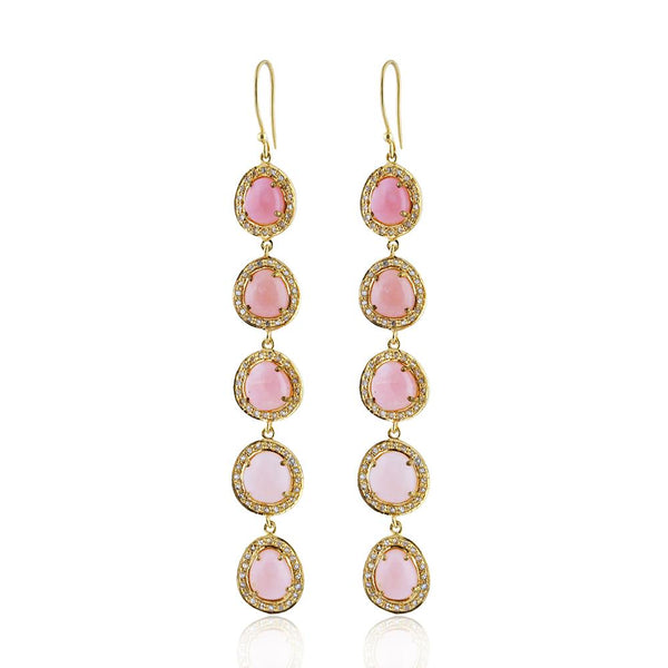 Giselle Pink Opal & Diamond Earrings