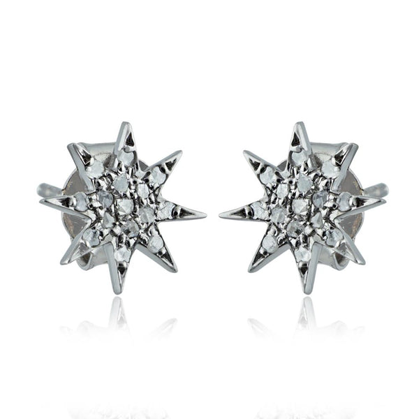 Star Simone Diamond Studs in Sterling Silver - Body Mind & Soul