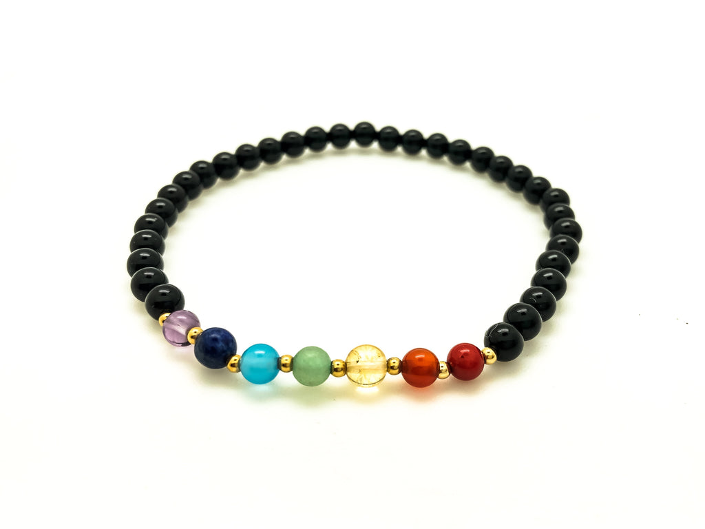 Seven Chakra Stone Stretch Bracelet - Body Mind & Soul