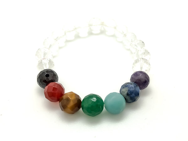 Chakra Gemstone Quartz Crystal Stretch Bracelet