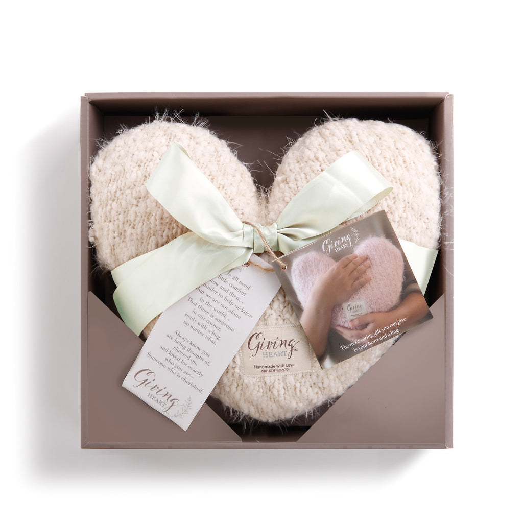 Giving Heart Pillow in Cream