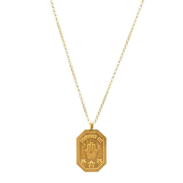 Protect Me Hamsa Tablet Necklace