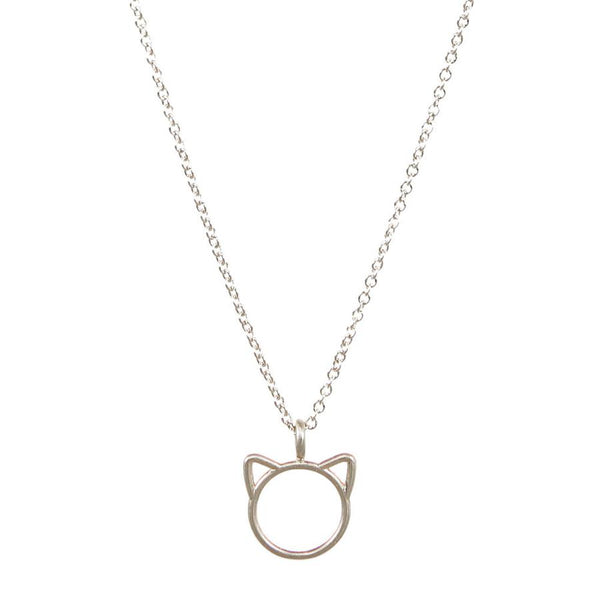 Silver Meow Cat Necklace