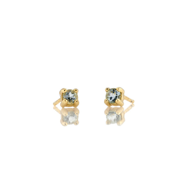 March Aquamarine Birthstone Stud Earrings