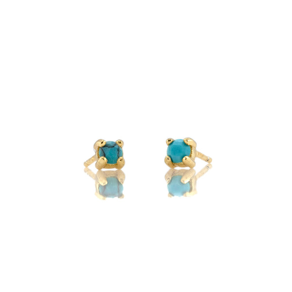 December Turquoise Birthstone Stud Earrings