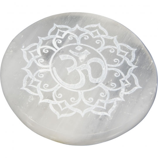 OM Selenite Incense Burner