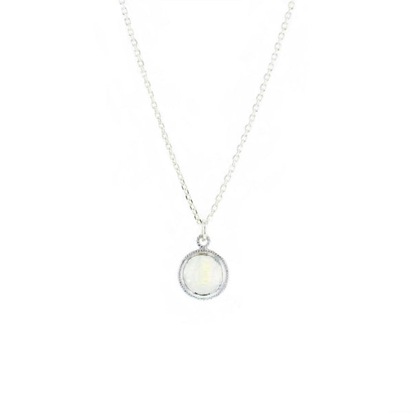 White Moonstone Lucca Necklace in Silver