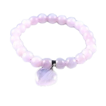 Love Rose Quartz Heart Bead Bracelet